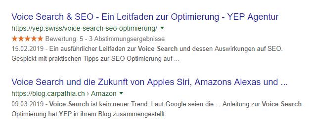 Voice Search Suchergebnis