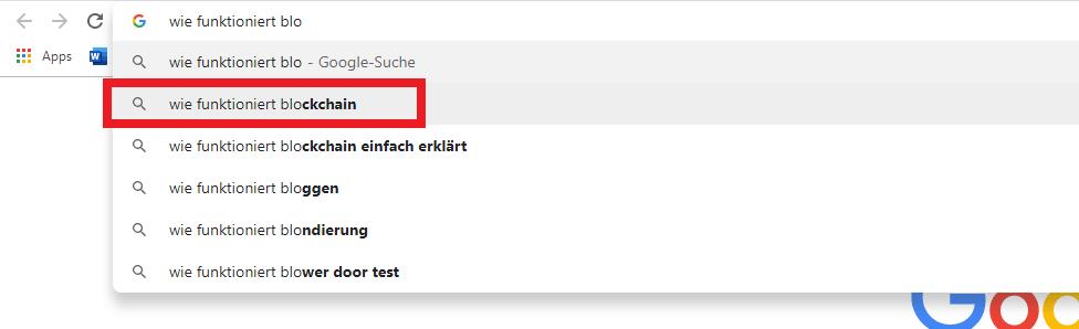 Google Suche Blockchain