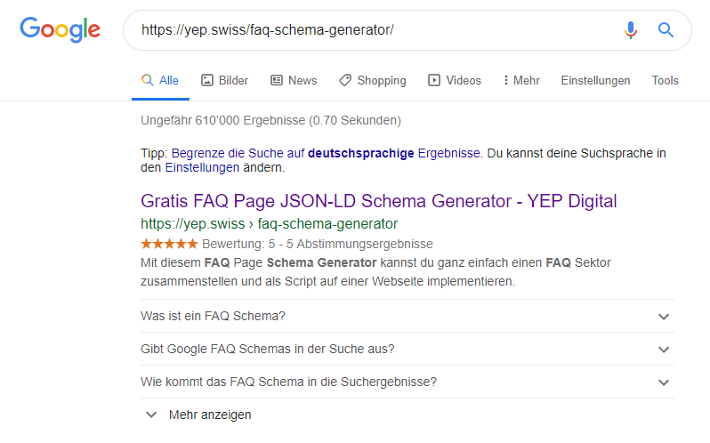 YEP FAQ Schema Generator