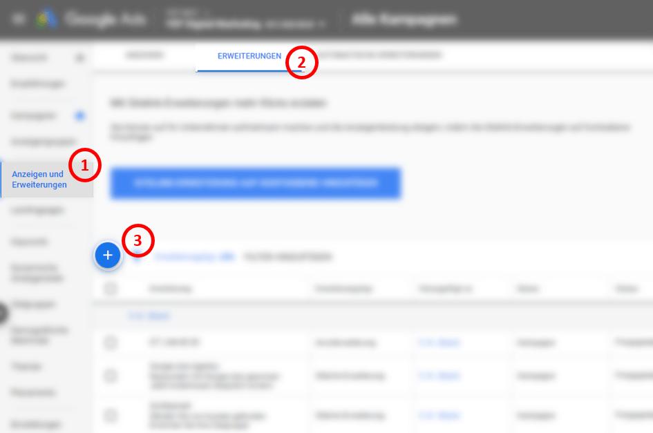 Erstellung Lead Formular Erweiterung in Google Ads 1