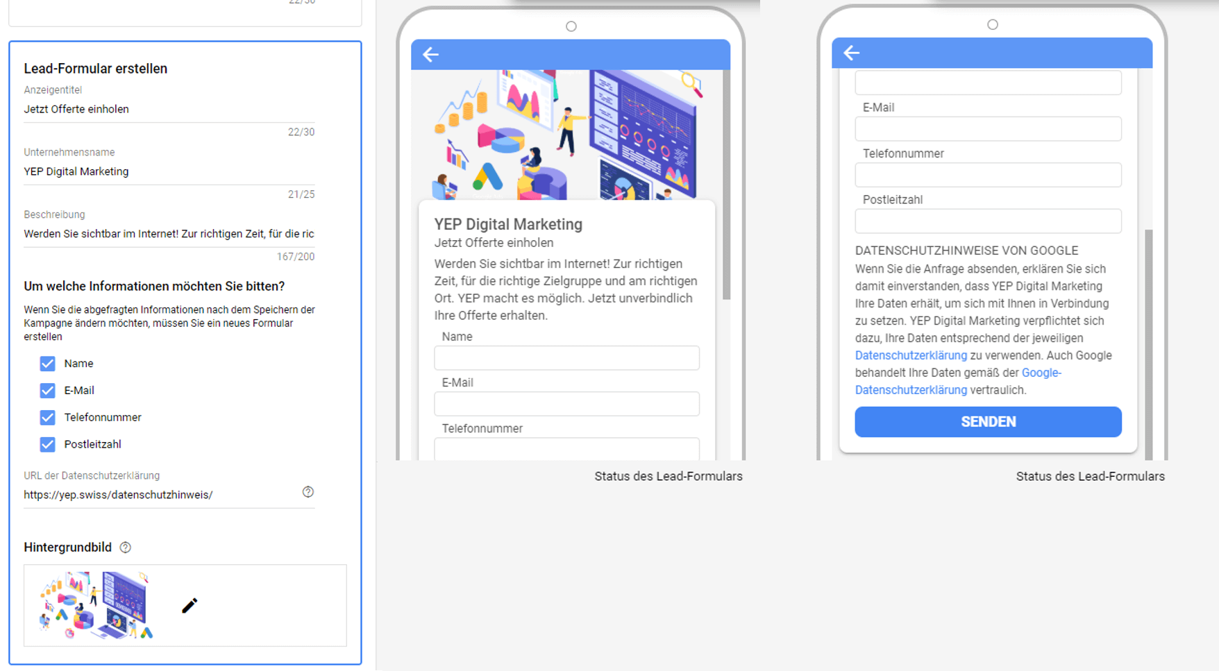 Lead Formular Erstellung Google Ads