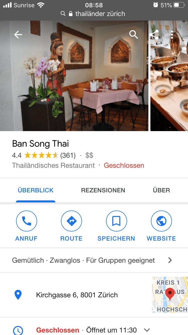 Google My Business Details Restaurant