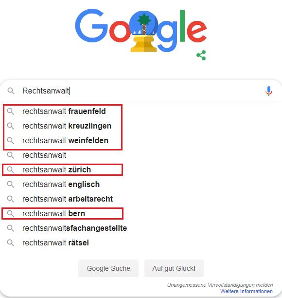 Google Suggest lokale Suchen