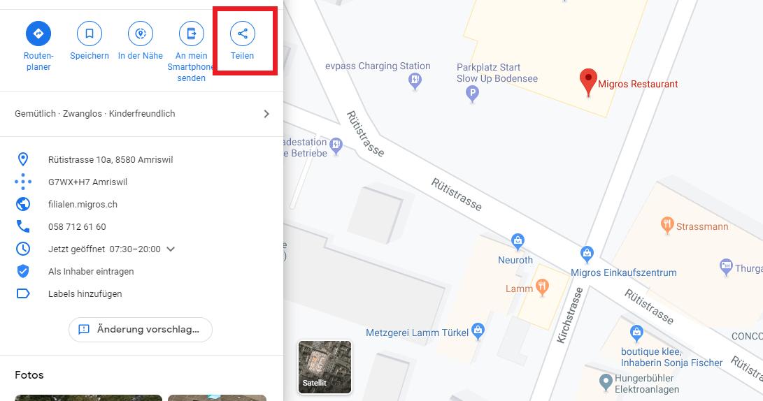 Google Map teilen