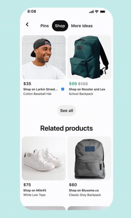 Pinterest Shopping Pinnwand 2
