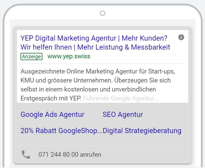 Google Ads Anzeige