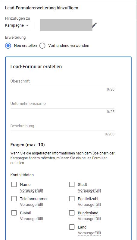 Lead Formular erstellen Google Ads